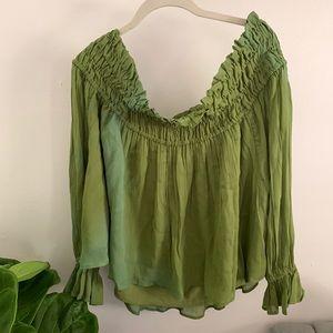 Green Asos Off Shoulder Long Sleeve Blouse